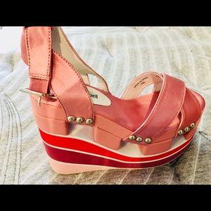 Jeffrey Campbell Pink Platform Retro Sandals, 6